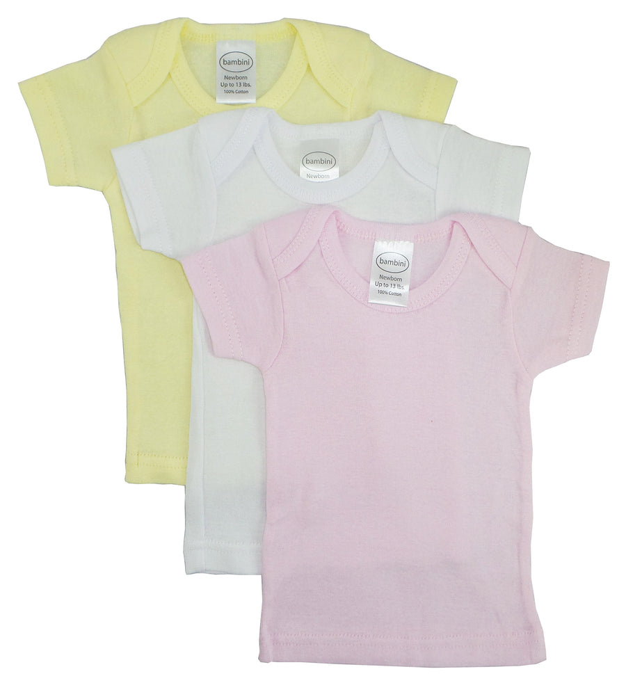 Girls Pastel Variety Short Sleeve Lap T-Shirts - 3 Pack