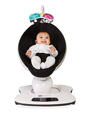 4moms mamaRoo 4 Baby Swing | Bluetooth Baby Rocker with 5 Unique Motions | Black Classic