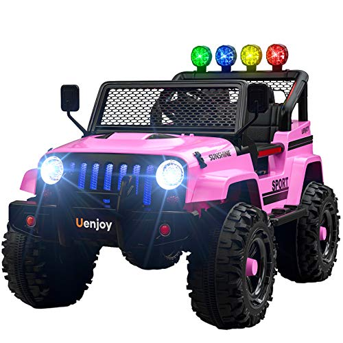 Sunshine Electric Kids Ride On Car 12V Battery Motorized Vehicle - Wheels Suspension, Remote Control, Music, Story Playing, Colorful Lights, Sunshine Model, Pink