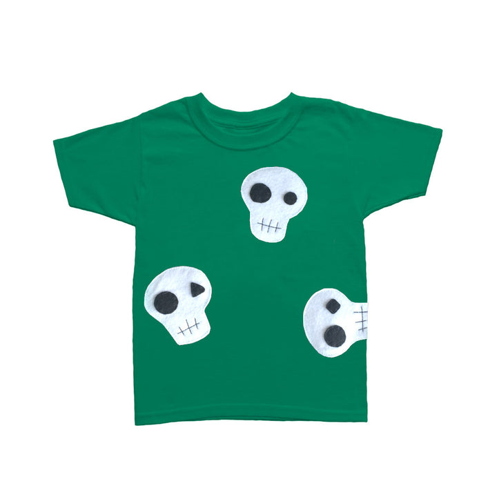Skulls Can Be Cute! - Green and Pink Kids T-Shirt
