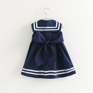 White and Navy Sailor Girls Dress