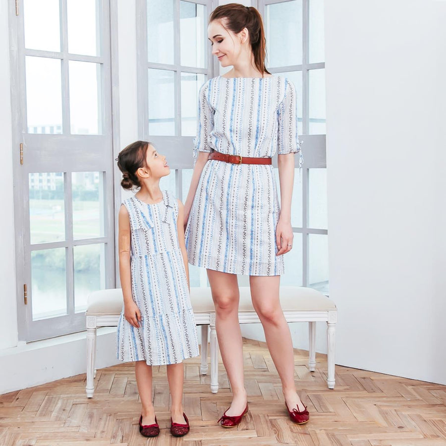 Mommy & Me- Floral stripped dress (set of 2)