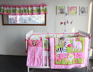 Zebra Animal Cartoon 7 Pcs Baby Bedding Set