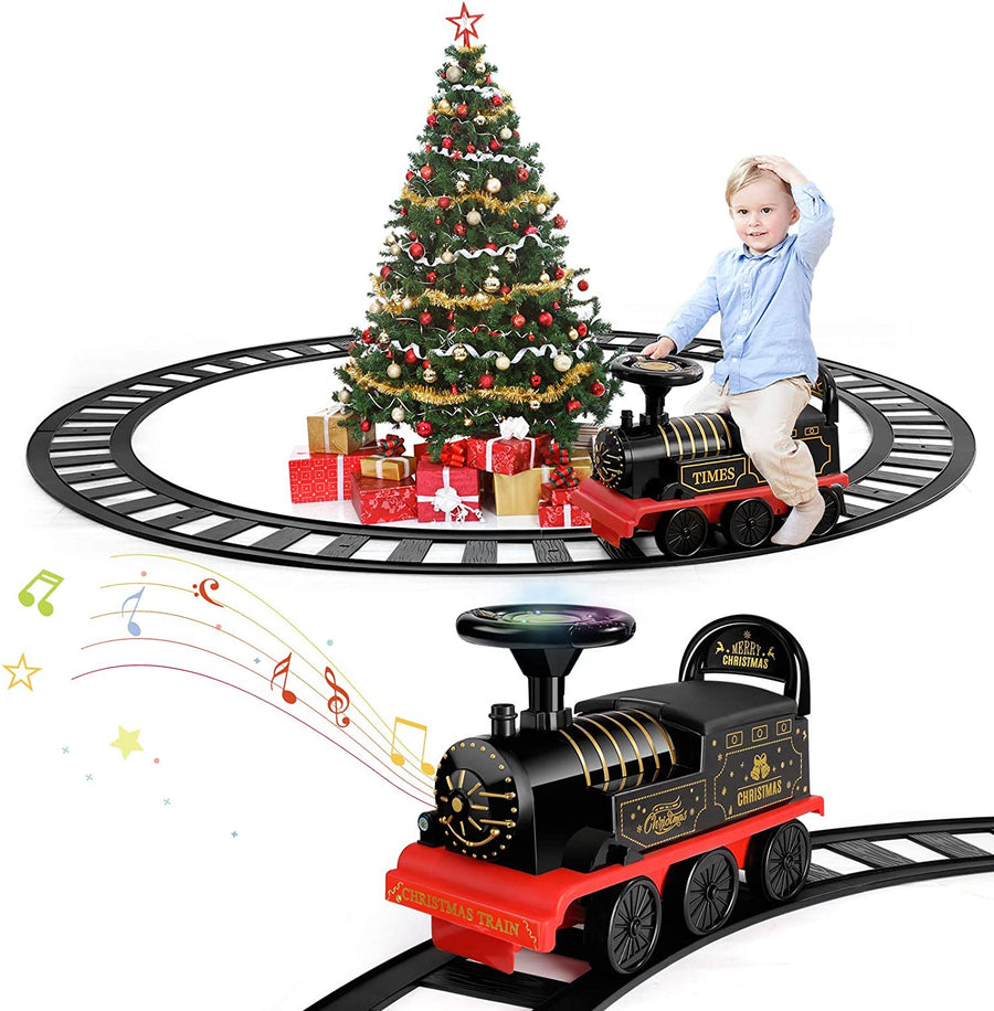 TEMI Ride On Train with Track Electric Ride On Toy w/ Lights & Sounds for Kids Christmas Birthday Gift