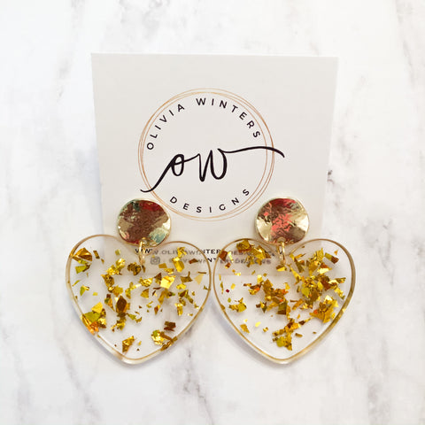 Sweet Heart Earrings - Gold