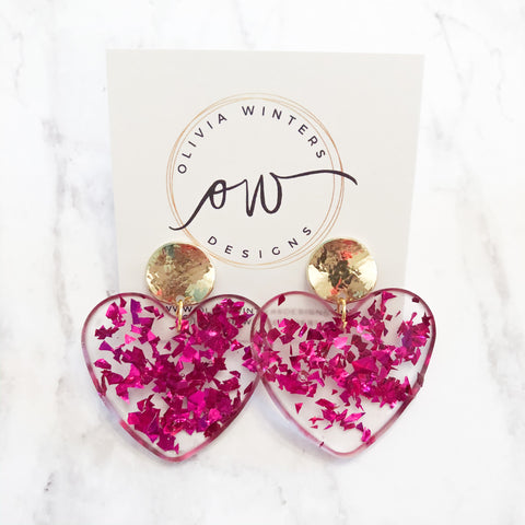 Sweet Heart Earrings - Hot Pink
