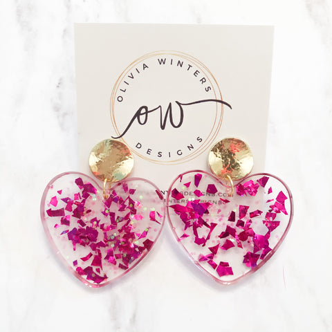 Sweet Heart Earrings - Hot Pink/Irridescent