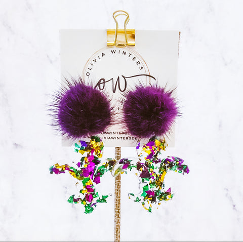 Fleur De Lis Mardi Gras Earrings