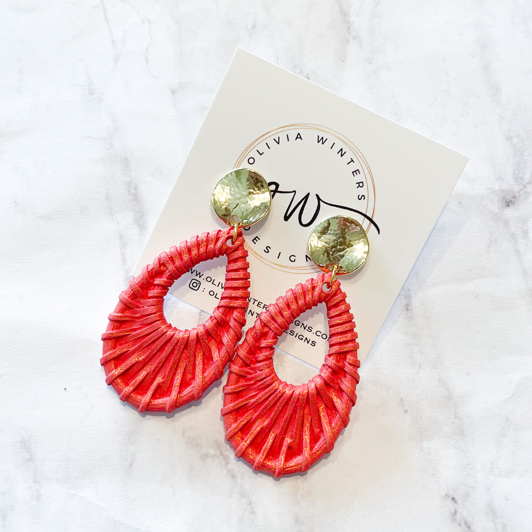 Rattan Acrylic Earrings - Red