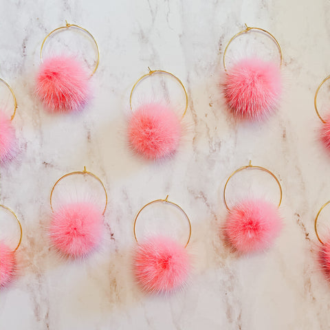 Mink Pom Pom Hoops - Light Pink