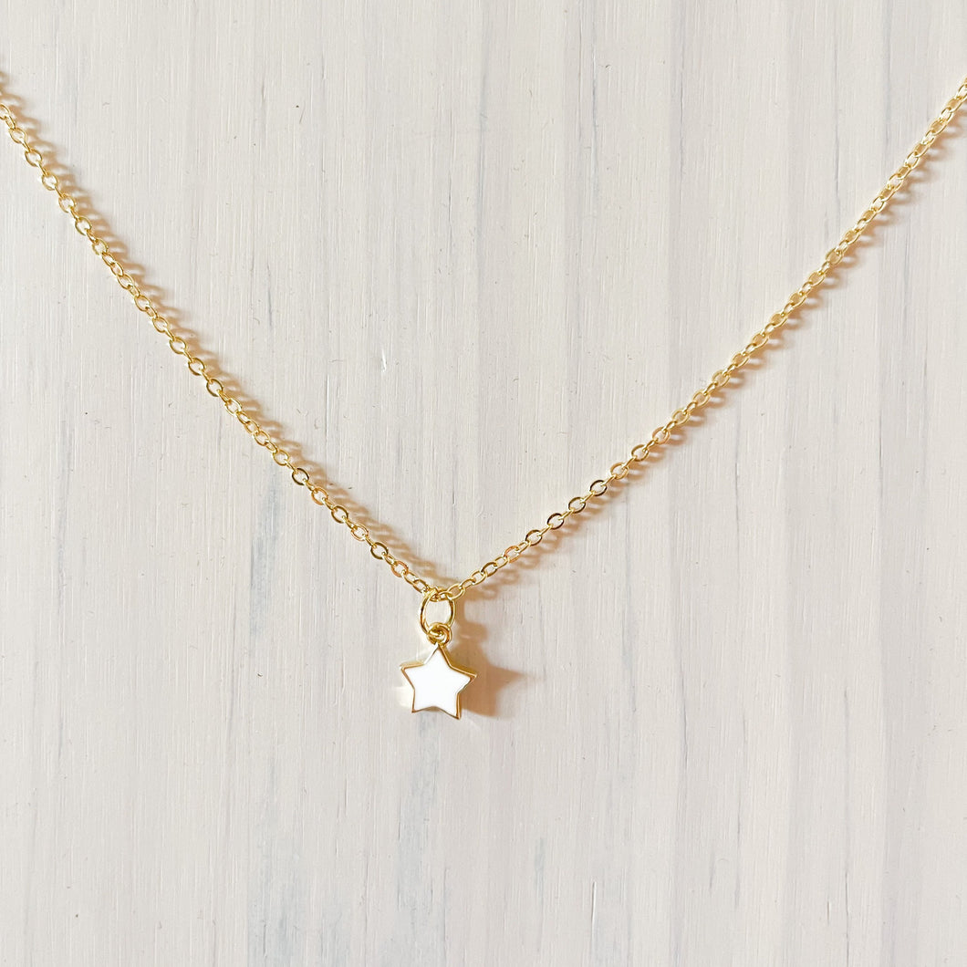 Twinkle Star Pendant Necklace - White