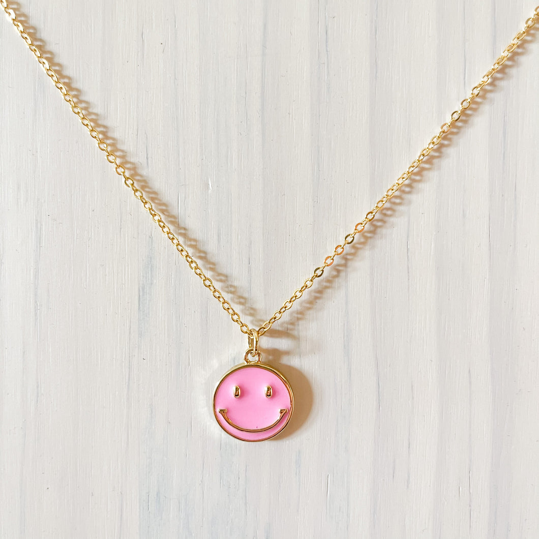 Happy Face Pendant Necklace - Pink