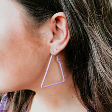 Load image into Gallery viewer, Triangle Hoops - Purple