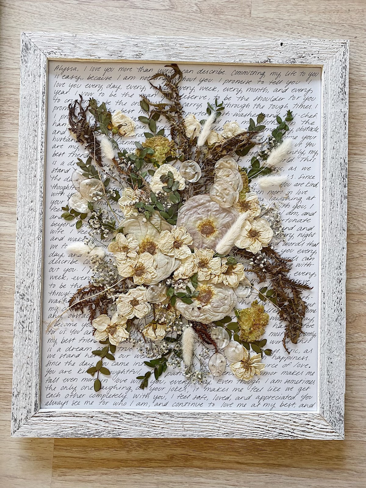 Alyssa's main pressed and framed bouquet