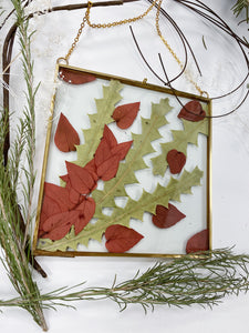 Rust Leaves and Unique Greenery in Square Brass Floating Frame