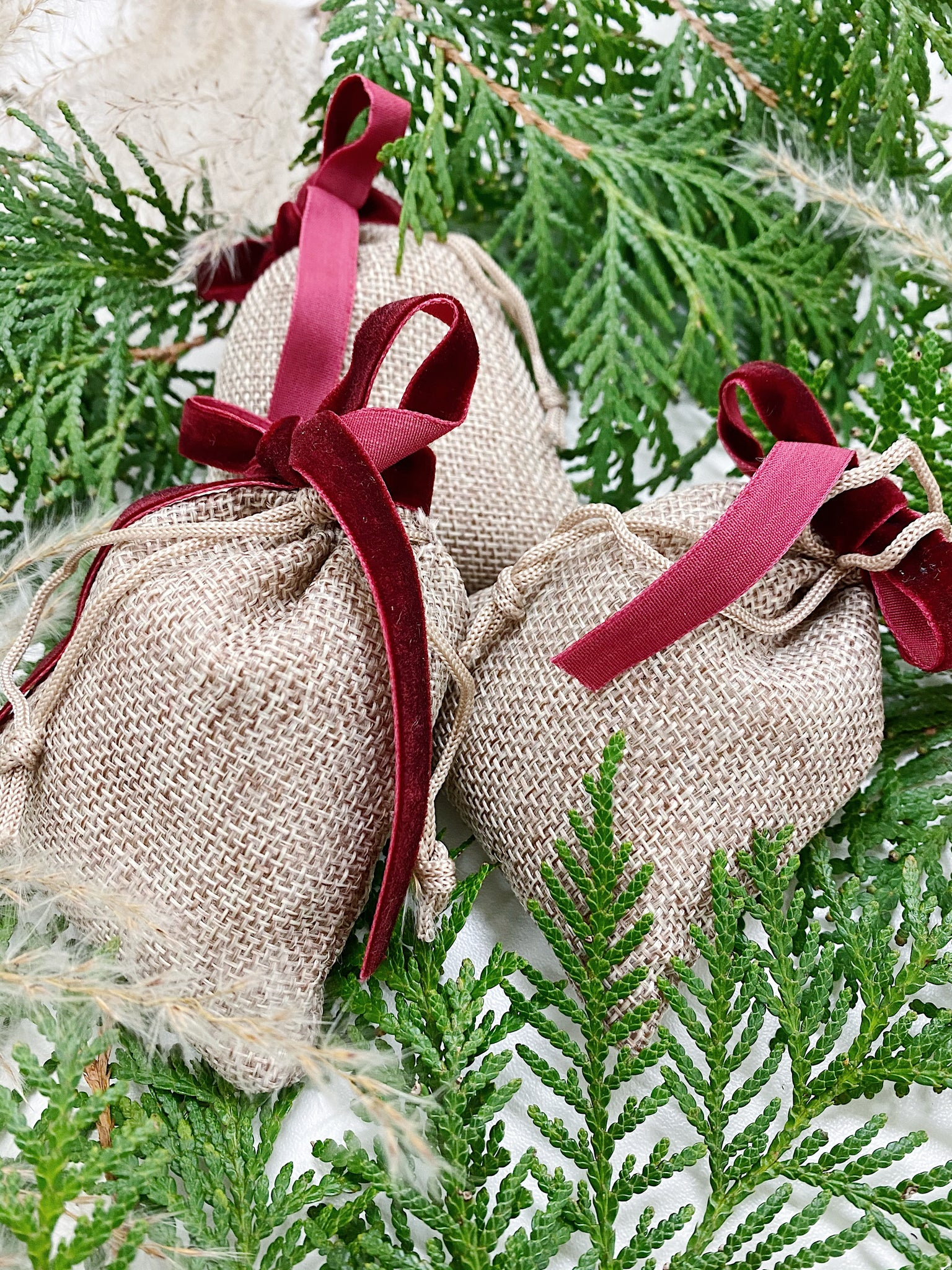 Burlap with Burgundy Ribbon Sachets | Multiple Scents