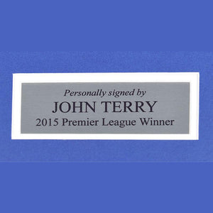 Close up of plaque for John Terry framed shirt