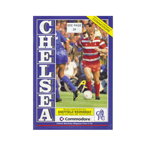 Chelsea FC vs Sheffield Wed Programme 26 Aug 1989