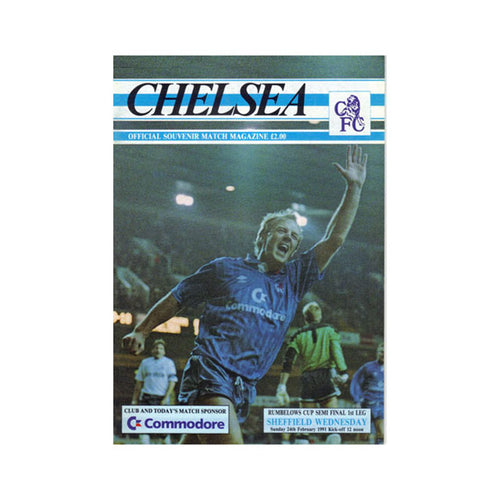 Chelsea FC vs Sheffield Wed Programme 24 Feb 1991