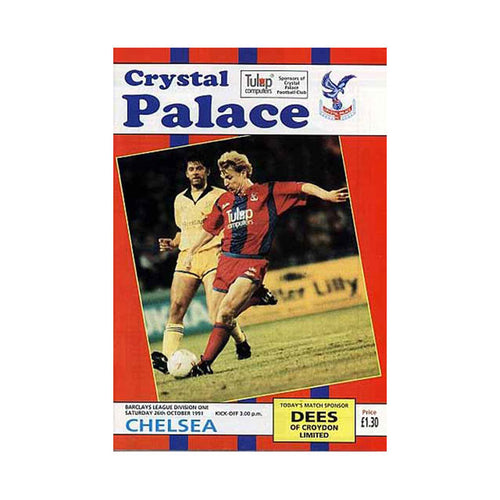 Crystal Palace vs Chelsea FC Programme 26 Oct 1991