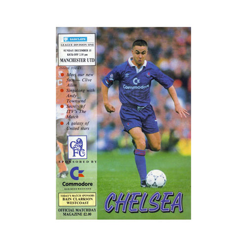 Chelsea FC vs Man Utd Programme 15 Dec 1991