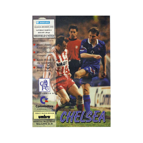 Chelsea FC vs Sheffield Utd Programme 21 Mar 1992