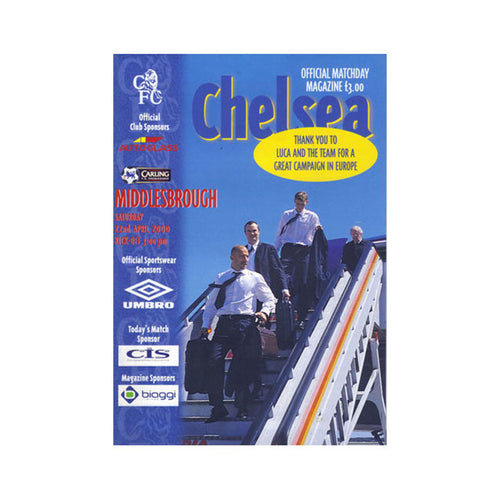 Chelsea FC vs Middlesbrough Programme 22 Apr 2000