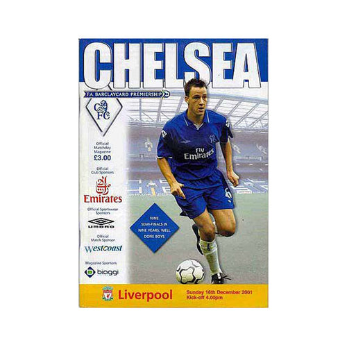 Chelsea FC vs Liverpool Programme 16 Dec 2001