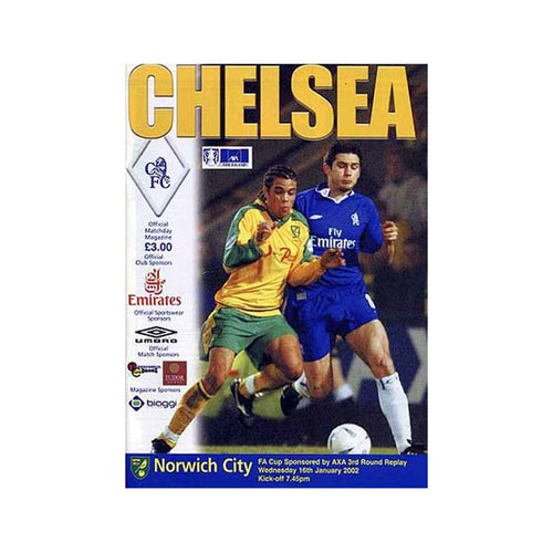 Chelsea FC vs Norwich Programme 16 Jan 2002