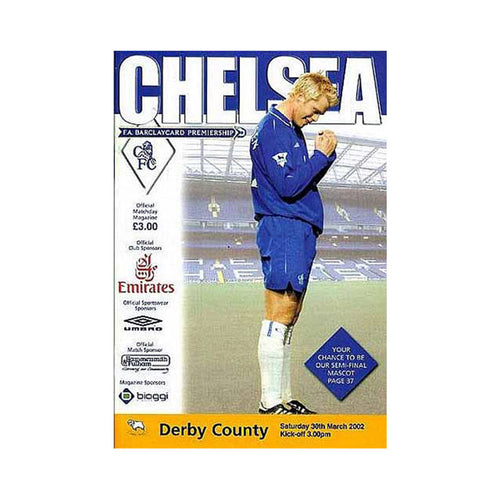 Chelsea FC vs Derby Programme 30 Mar 2002