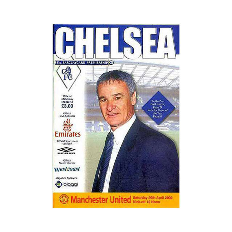 Chelsea FC vs Man Utd Programme 20 Apr 2002