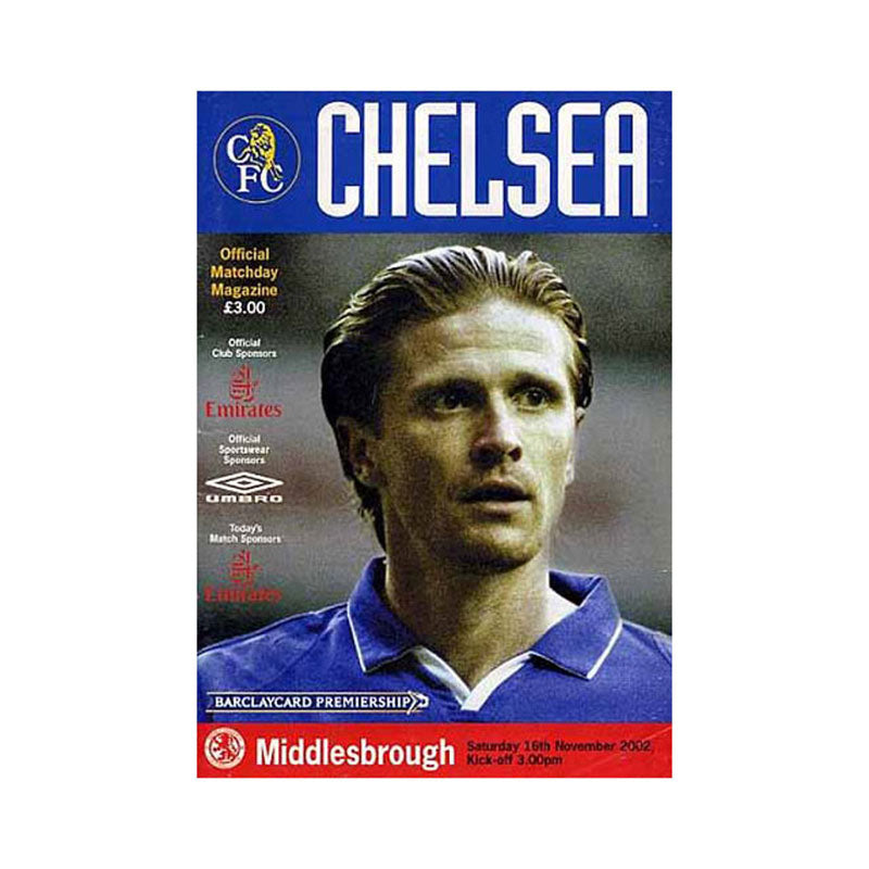 Chelsea FC vs Middlesbrough Programme 16 Nov 2002