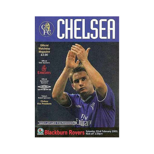 Chelsea FC vs Blackburn Rovers Programme 22 Feb 2003