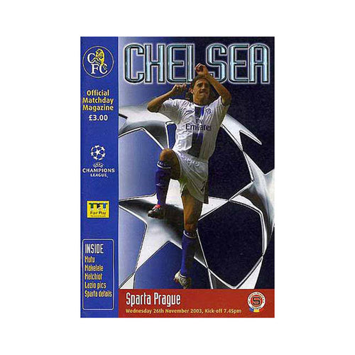 Chelsea FC vs Sparta Prague Programme 26 Nov 2003