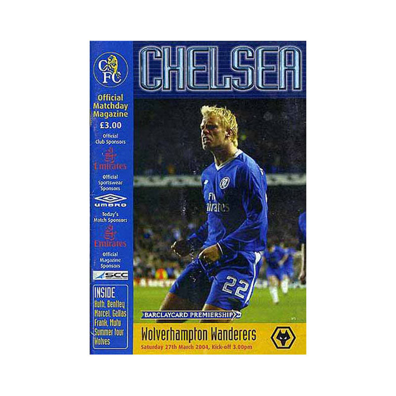 Chelsea FC vs Wolves Programme 27 Mar 2004