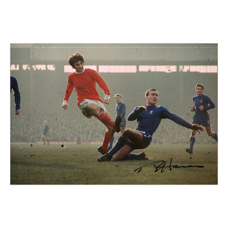 Ron Harris Signed Photo - Tackle vs George Best 1971 PRE FRAMED