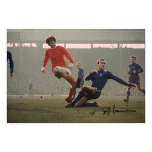 Ron Harris signed photo, tackling George Best of Manchester United