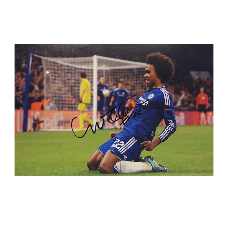 Willian Signed Photo - Knee Slide Celebration - Small
