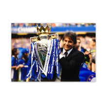 Load image into Gallery viewer, Antonio Conte Signed Photo, holding up the premier league trophy