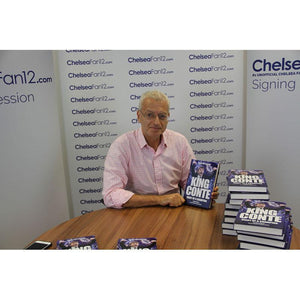 Author Harry Harris holding up King Conte book, during signing session with ChelseaFan12