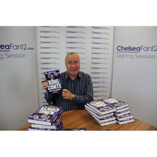 Load image into Gallery viewer, Chelsea legend Ron Harris holding up King Conte book, during signing session with ChelseaFan12