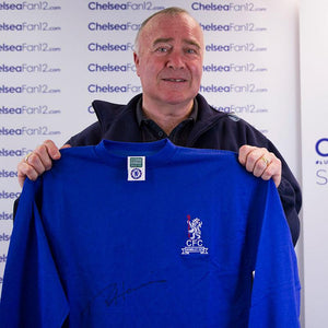 Ron Chopper Harris holding up a 1970 Wembley Retro Shirt, after signing it during a private session with ChelseaFan12