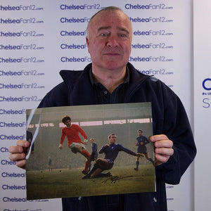 Ron Harris holding up the photo, during signing session with ChelseaFan12