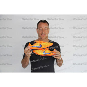 John Terry Signed Match Worn Orange Football Boots 2014/2015