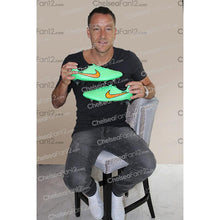 Load image into Gallery viewer, John Terry Signed Match Worn Green Football Boots 2014/2015 - Acrylic Case