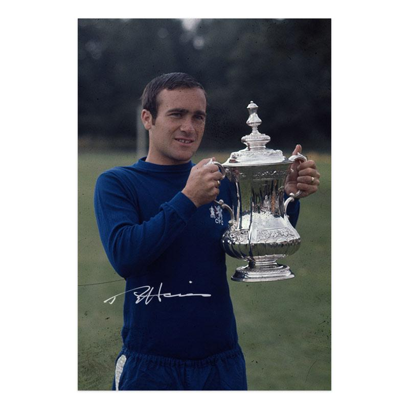 Ron Harris Signed Photograph, holding up the FA Cup