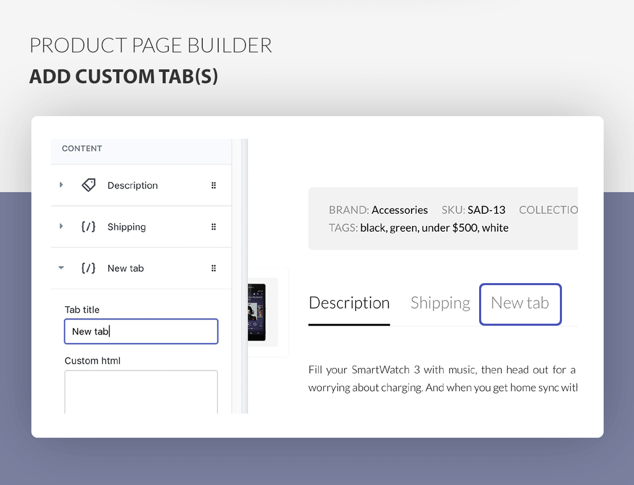 Product page builder - add custom tabs
