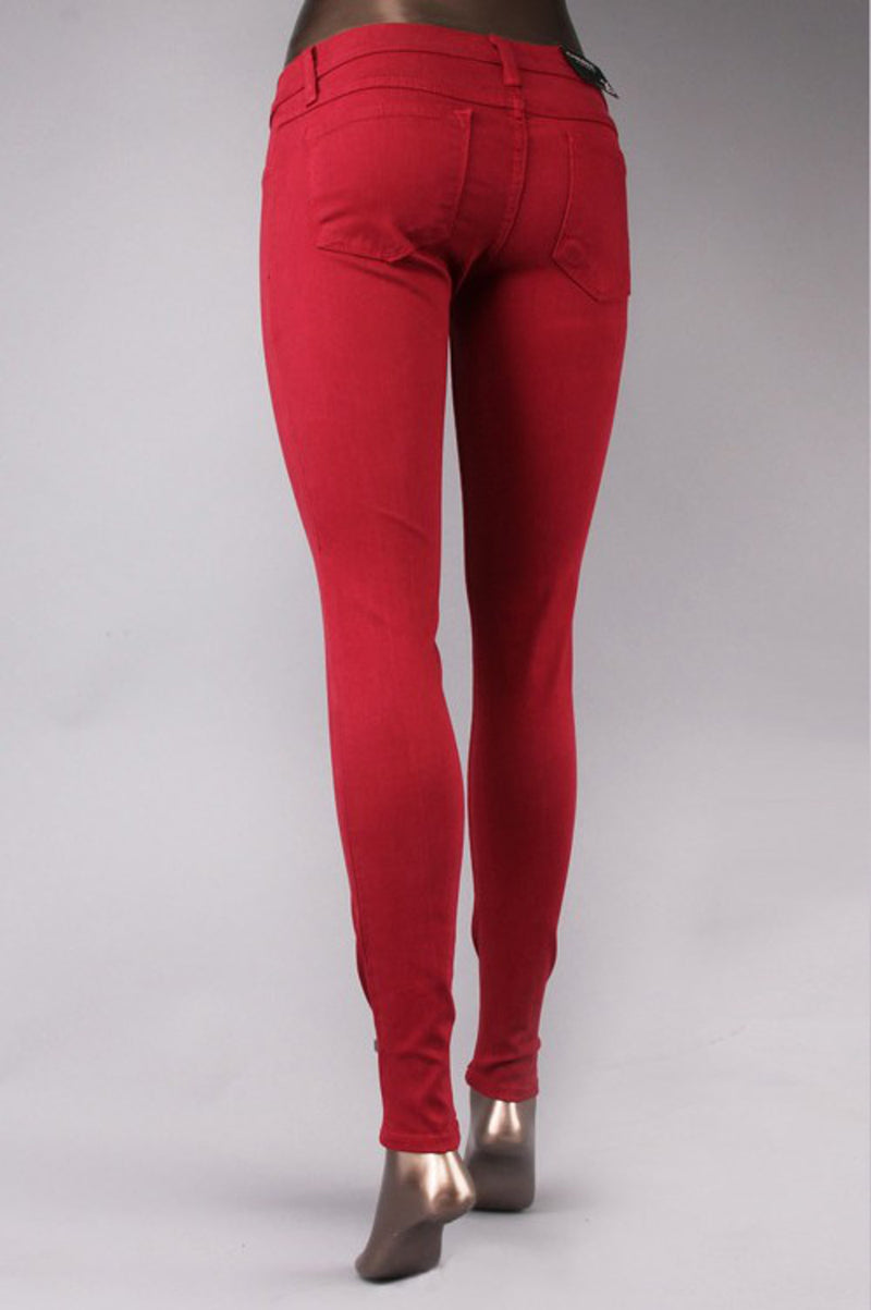 Flying Monkey-Color Skinny Pants-Cherry