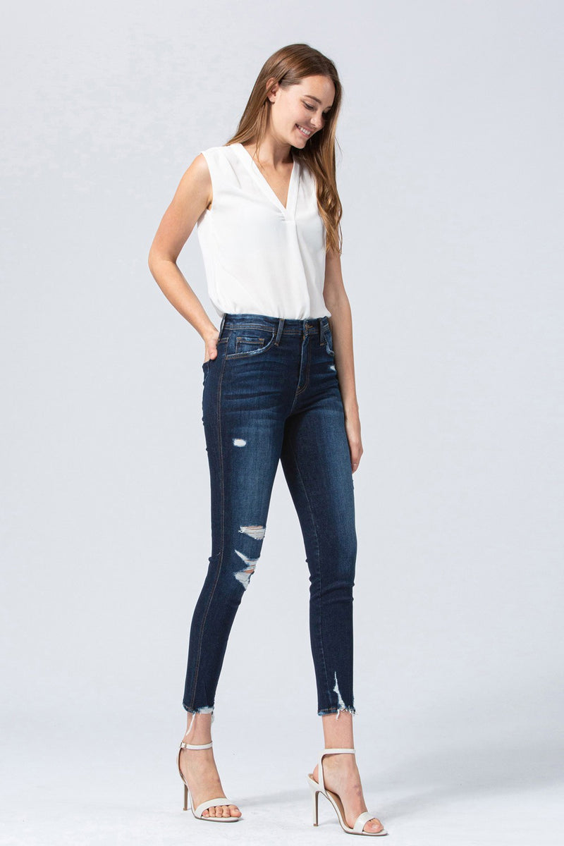 High Rise Distressed Crop Skinny - Tales