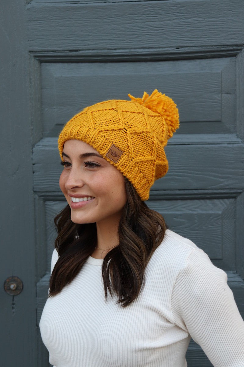 SALE-Fleece Lined Beanie With Pom Accent-Mustard